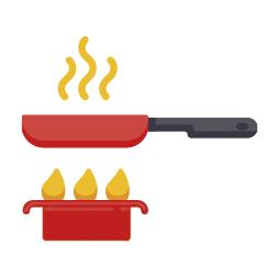 Icono con sarten en el fogon